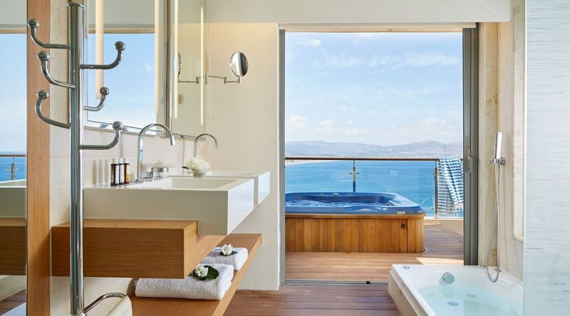 Double Deluxe Room Sea View with Outdoor Jacuzzi Lindos Blu Hotel