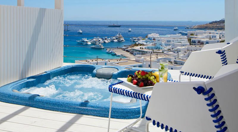 True Blue with Outdoor Jacuzzi Sea View Myconian Ambassador Relais & Chateaux Hotel