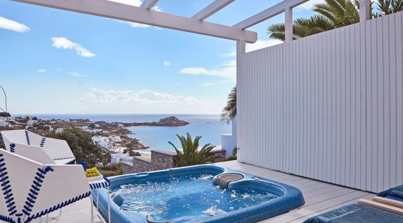 White Bliss with Private Jacuzzi Sea View Myconian Ambassador Relais & Chateaux Hotel