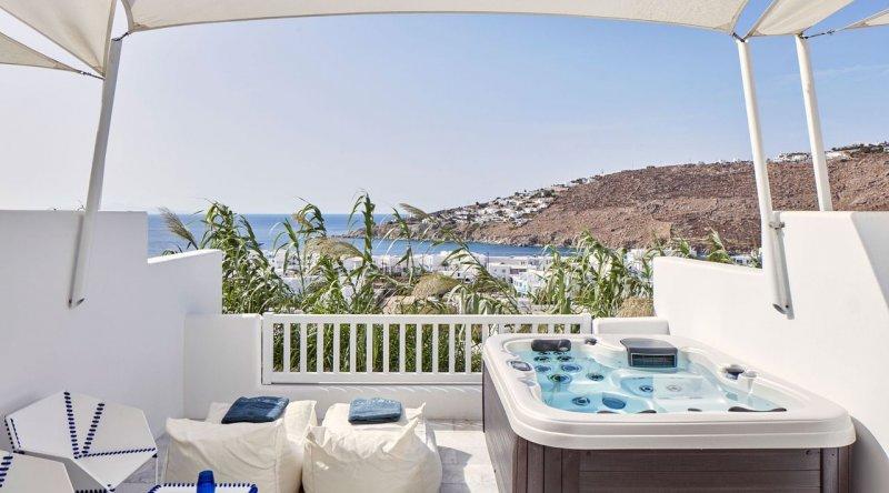 Thalassa Suite with Private Jacuzzi Sea View Myconian Ambassador Relais & Chateaux Hotel