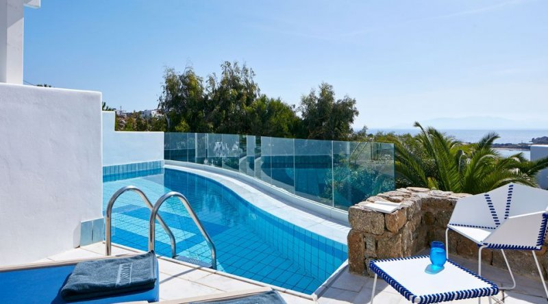 Thalassa Suite with Sharing Pool Sea View Myconian Ambassador Relais & Chateaux Hotel