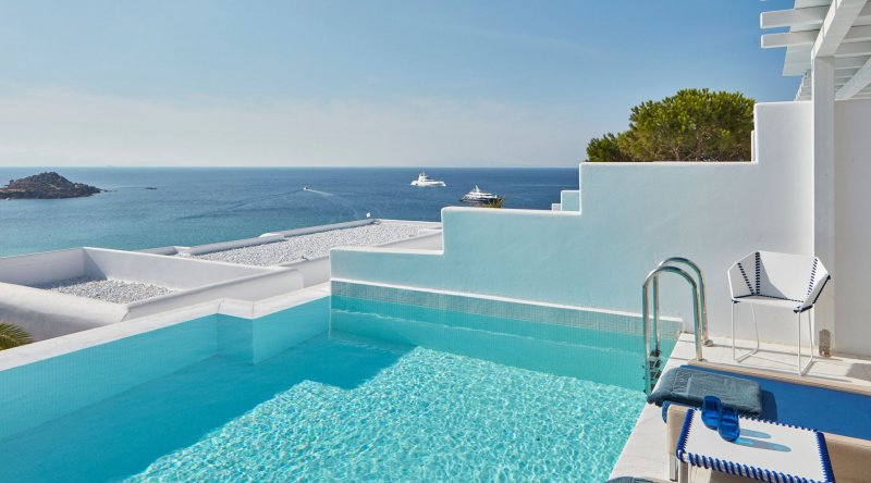 White Bliss Private Pool Sea View Myconian Ambassador Relais & Chateaux Hotel
