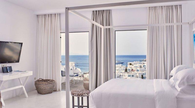 True White Suite with Private Jacuzzi Sea View Myconian Ambassador Relais & Chateaux Hotel
