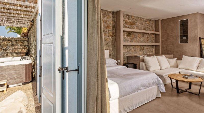 Passion Suite with Private Jacuzzi Sea View Myconian Ambassador Relais & Chateaux Hotel