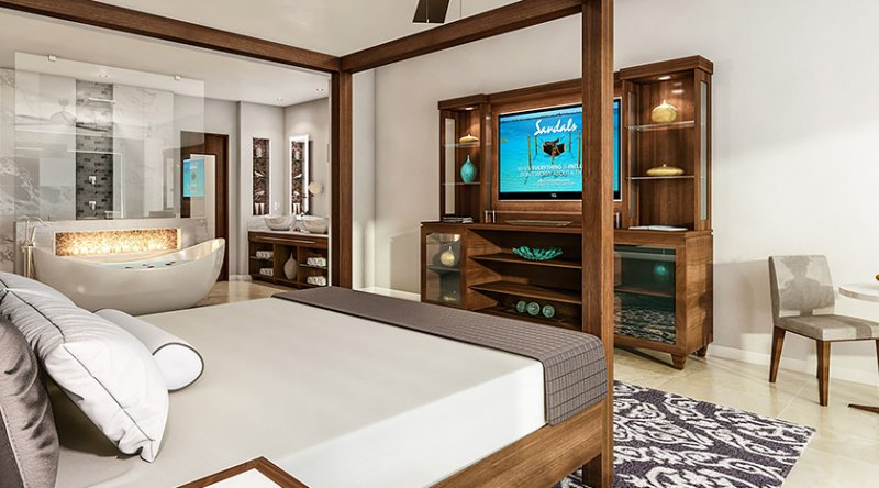Romeo & Juliet Walkout Butler Suite with Patio Tranquility Soaking Tub  - Sandals Royal Caribbean