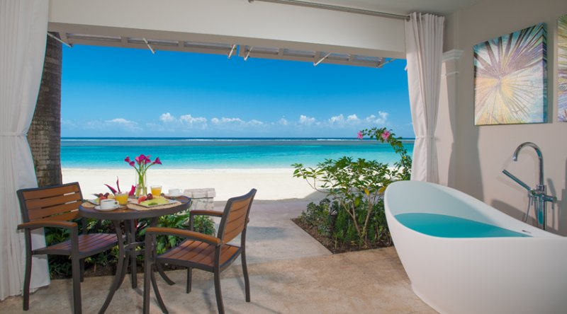 Windsor Beachfront Walkout Club Level Room with Patio Tranquility Soaking Tub - Sandals Royal Caribbean