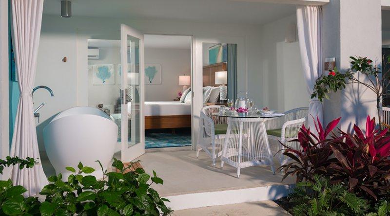 Water's Edge Honeymoon Walkout Club Level Room w/ Patio Tranquility Soaking Tub - Sandals Montego Bay